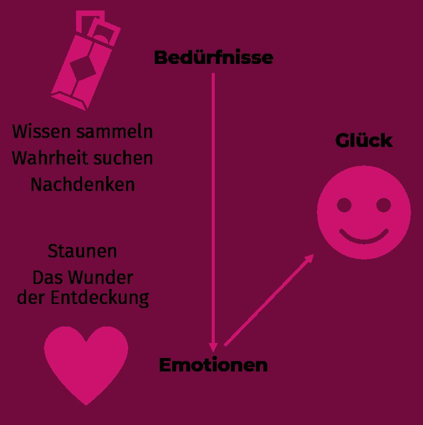 Beispiel des Zusammenhangs zwischen intrinsischen Bedürfnissen, positiven Emotionen und Glück